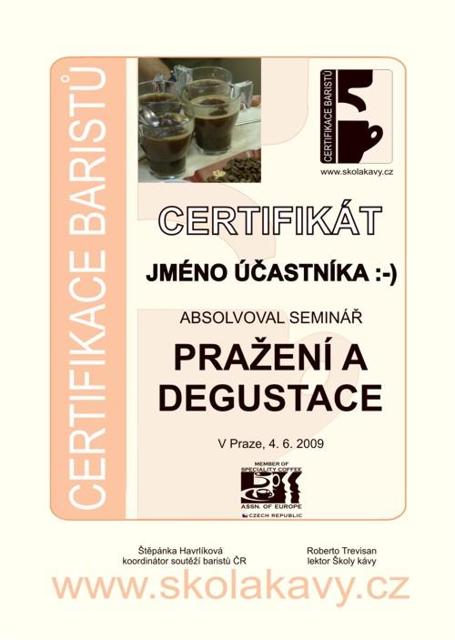 Certifikát účastníka semináře Pražení a degustace