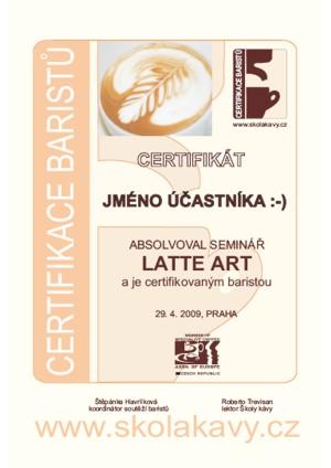 Certifikát absolventů semináře Latte Art